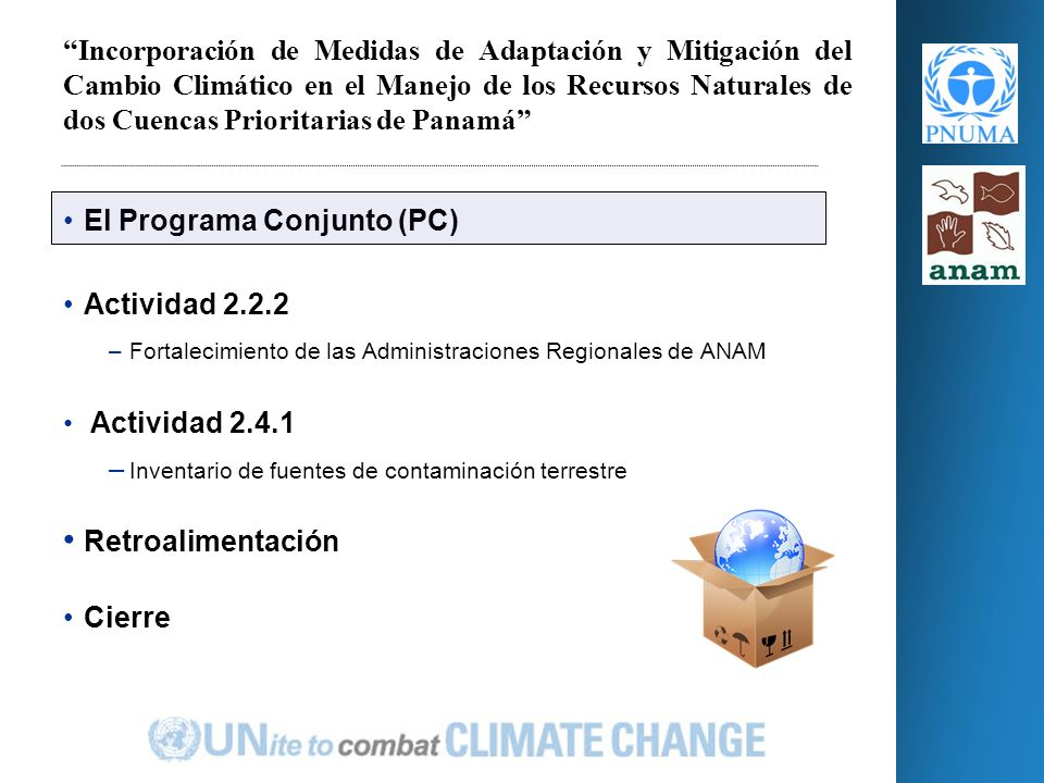 PROGRAMA DE LAS NACIONES UNIDAS PARA EL MEDIO AMBIENTE Oficina Regional para América Latina y el Caribe Febrero 2010 Inducción Administraciones regionales ANAM Actividades 2.2.2 y 2.4.1