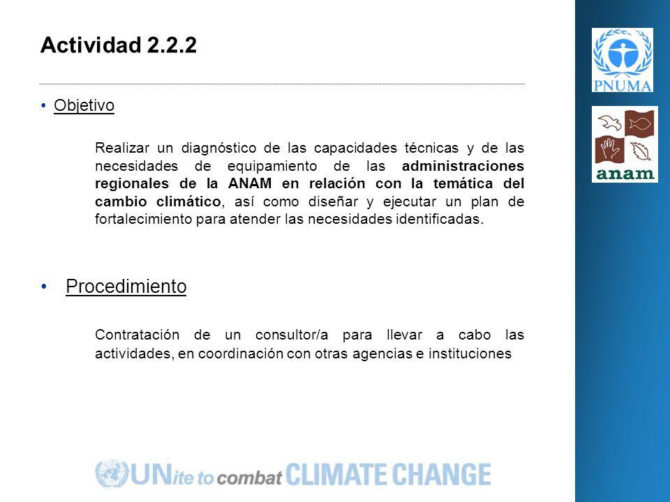 Objetivo Realizar un diagnóstico de las capacidades técnicas y de las necesidades de equipamiento de las administraciones regionales de la ANAM en relación con la temática del cambio climático, así como diseñar y ejecutar un plan de fortalecimiento para atender las necesidades identificadas.