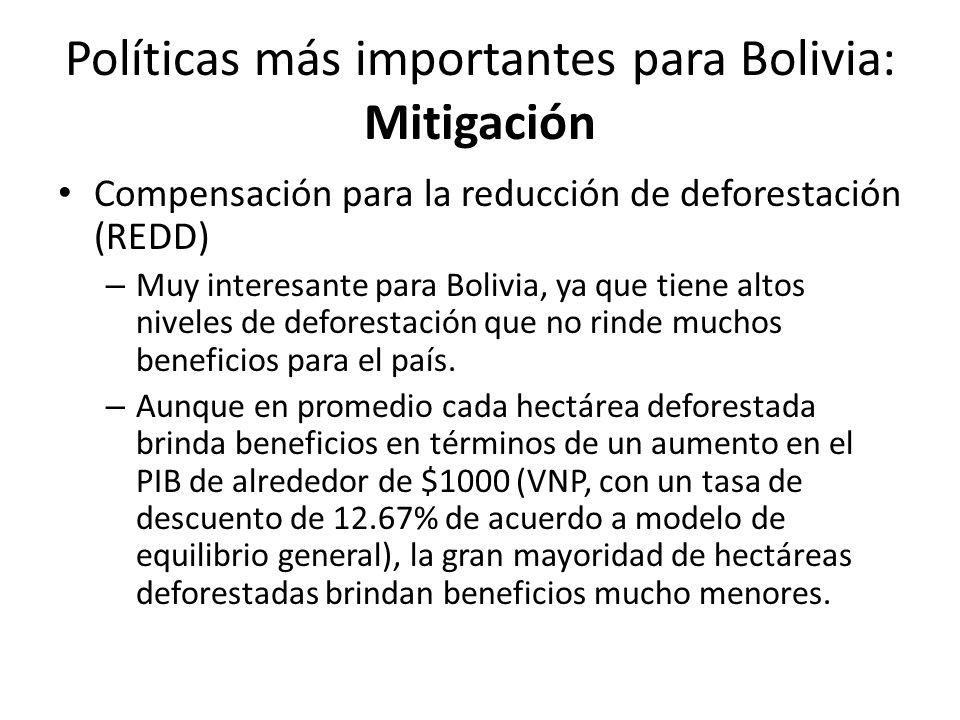 Políticas más importantes para Bolivia: Mitigación Compensación para la reducción de deforestación (REDD) – Muy interesante para Bolivia, ya que tiene altos niveles de deforestación que no rinde muchos beneficios para el país.