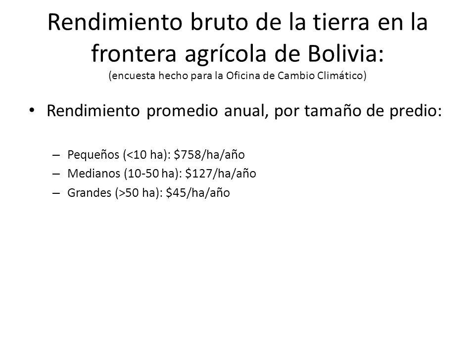 Rendimiento promedio anual, por tamaño de predio: – Pequeños (<10 ha): $758/ha/año – Medianos (10-50 ha): $127/ha/año – Grandes (>50 ha): $45/ha/año Rendimiento bruto de la tierra en la frontera agrícola de Bolivia: (encuesta hecho para la Oficina de Cambio Climático)