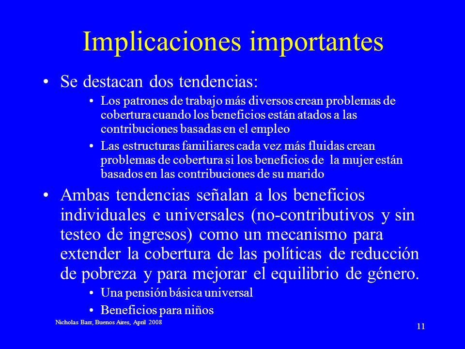Nicholas Barr, Buenos Aires, April 2008 10 Qué ha cambiado? Aumento en competencia internacional (globalización) Naturaleza del trabajo cambiante, con