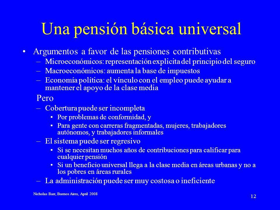 Nicholas Barr, Buenos Aires, April 2008 11 Implicaciones importantes Se destacan dos tendencias: Los patrones de trabajo más diversos crean problemas