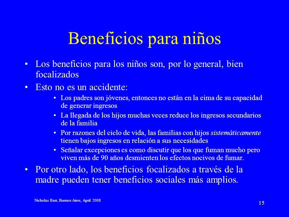 Nicholas Barr, Buenos Aires, April 2008 14 Argumentos a favor de una pensión básica no-contributiva (2) Focalización: la edad es un indicador útil de la pobreza Los incentivos para trabajar y ahorrar son mejores que en el caso de los beneficios testeados por ingresos Beneficios sociales más amplios: Algunos demuestran que los beneficios universales contribuyen a la solidaridad familiar Puede mejorar el acceso a otros servicios, por ejemplo, de salud Ajustable a restricciones presupuestarias: tres instrumentos Tamaño de la pensión Edad en la que se paga la pensión por primera vez Quizás también un testeo de riqueza