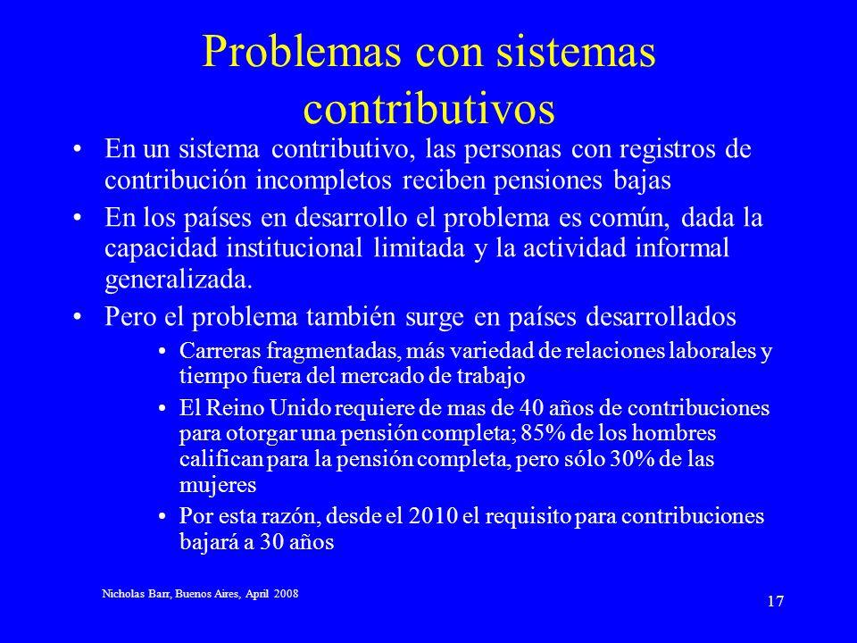 Nicholas Barr, Buenos Aires, April 2008 16 3 Experiencia internacional Problemas Problemas con sistemas contributivos Problemas con el testeo de ingresos Hacia una solución Testeo de riqueza Pensiones básicas no-contributivas