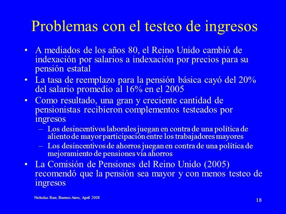 Nicholas Barr, Buenos Aires, April 2008 17 Problemas con sistemas contributivos En un sistema contributivo, las personas con registros de contribución