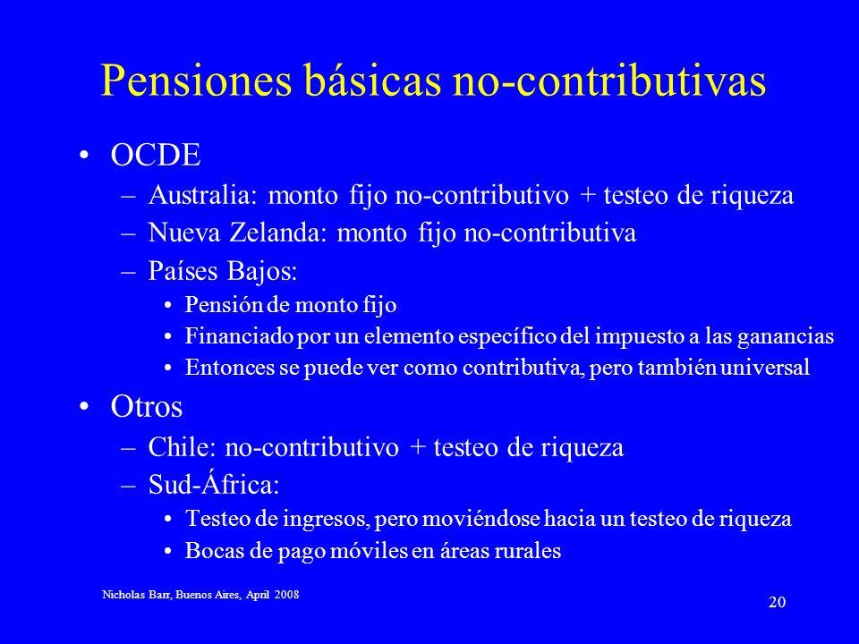 Nicholas Barr, Buenos Aires, April 2008 19 Testeo de riqueza Los argumentos en contra de un testeo de ingresos no se aplican de manera sustancial al t