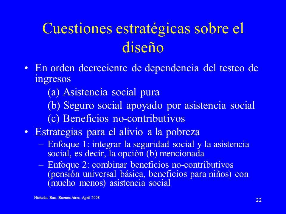 Nicholas Barr, Buenos Aires, April 2008 21 4 Conclusiones No volver a 1938; el mundo ha cambiado Cuando se piensa en el diseño, considerar –Las brecha