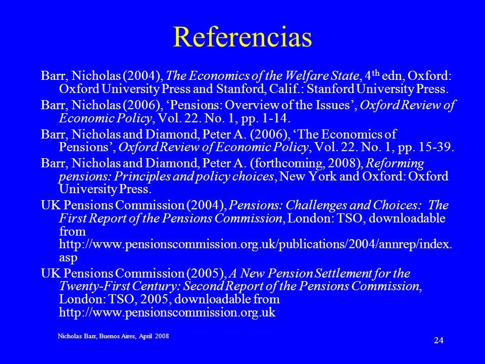 Nicholas Barr, Buenos Aires, April 2008 23 Conclusión Los desarrollos en teoría económica, los cambios sociales y ejemplos locales dan que pensar, especialmente: –Una pensión universal básica Con o sin testeo de riqueza Pagadera a una edad que haga compatible su adecuación con su sostenibilidad fiscal.