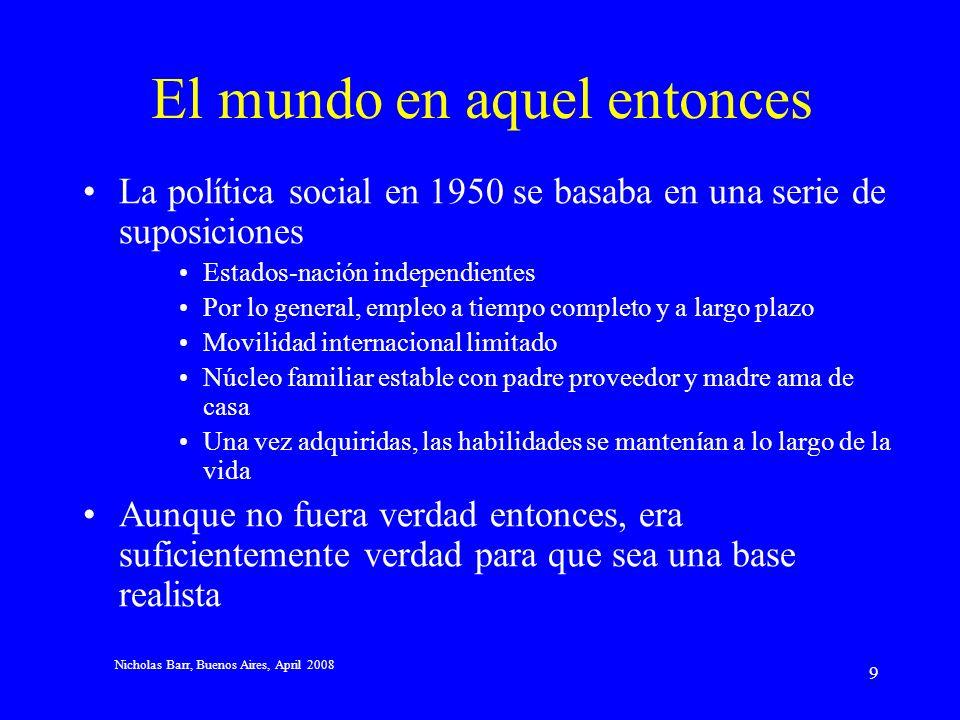 Nicholas Barr, Buenos Aires, April 2008 19 Testeo de riqueza Los argumentos en contra de un testeo de ingresos no se aplican de manera sustancial al testeo de riqueza (que pone los beneficios fuera del alcance de los ricos) –Australia –Chile