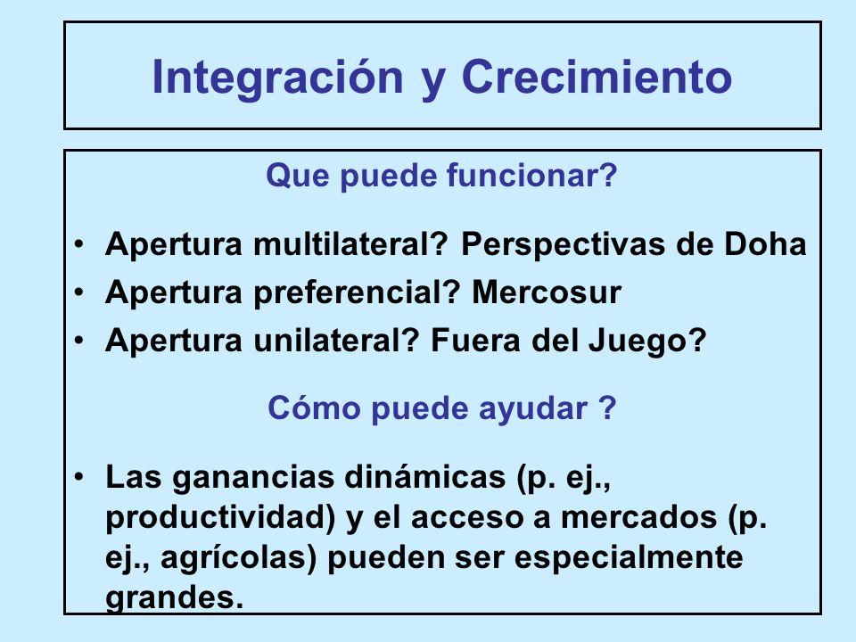 Integración y Crecimiento Que puede funcionar. Apertura multilateral.