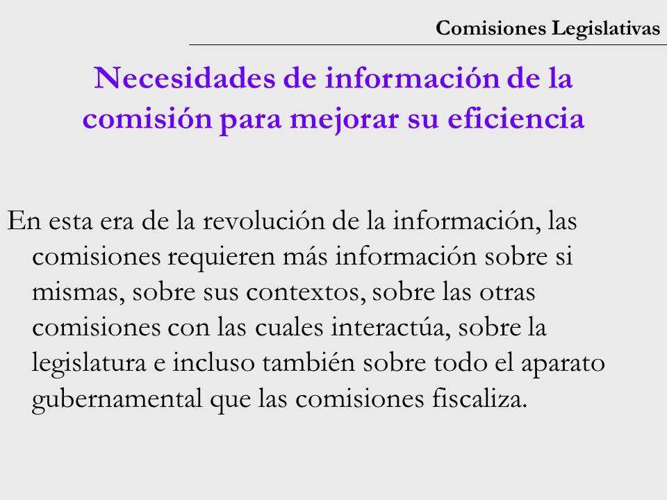 Comisiones Legislativas Necesidades de información de la comisión para mejorar su eficiencia En esta era de la revolución de la información, las comisiones requieren más información sobre si mismas, sobre sus contextos, sobre las otras comisiones con las cuales interactúa, sobre la legislatura e incluso también sobre todo el aparato gubernamental que las comisiones fiscaliza.