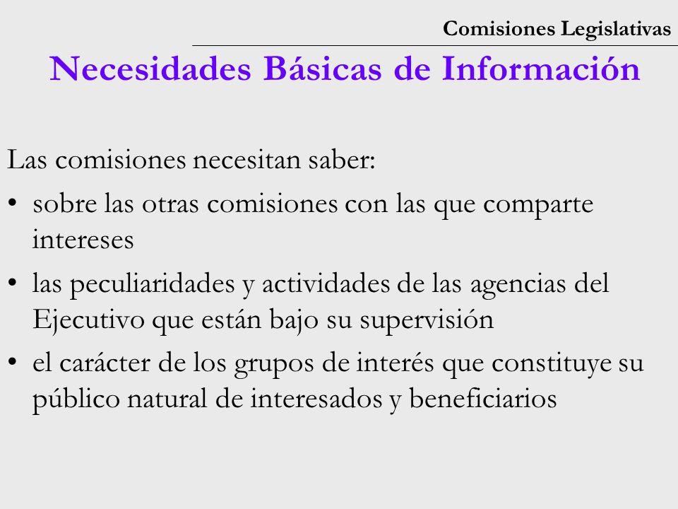 Comisiones Legislativas Necesidades Básicas de Información Las comisiones necesitan saber: sobre las otras comisiones con las que comparte intereses las peculiaridades y actividades de las agencias del Ejecutivo que están bajo su supervisión el carácter de los grupos de interés que constituye su público natural de interesados y beneficiarios