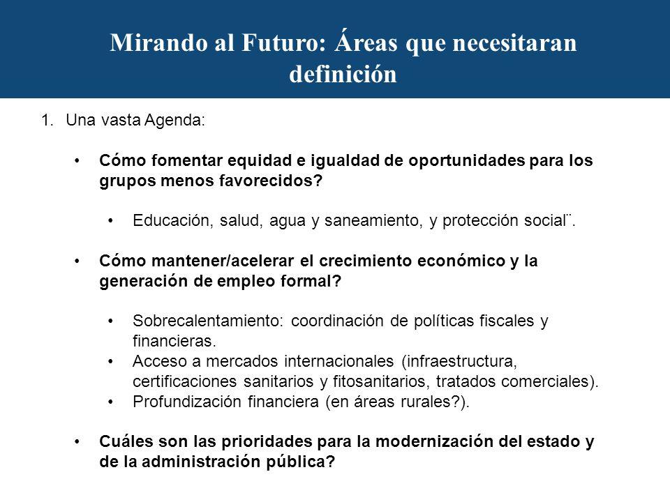 Mirando al Futuro: Áreas que necesitaran definición 1.Una vasta Agenda: Cómo fomentar equidad e igualdad de oportunidades para los grupos menos favorecidos.