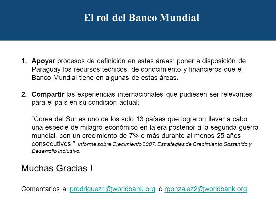 El rol del Banco Mundial 1.Apoyar procesos de definición en estas áreas: poner a disposición de Paraguay los recursos técnicos, de conocimiento y financieros que el Banco Mundial tiene en algunas de estas áreas.
