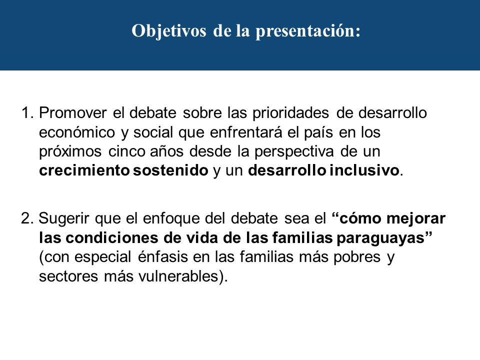 Objetivos de la presentación: 1.Promover el debate sobre las prioridades de desarrollo económico y social que enfrentará el país en los próximos cinco años desde la perspectiva de un crecimiento sostenido y un desarrollo inclusivo.