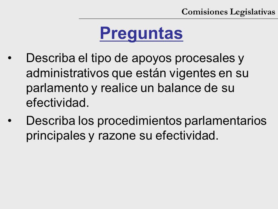 Comisiones Legislativas Preguntas Describa el tipo de apoyos procesales y administrativos que están vigentes en su parlamento y realice un balance de
