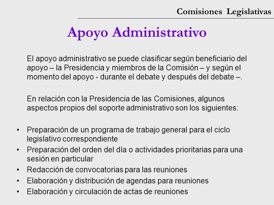 Comisiones Legislativas Apoyo Administrativo El apoyo administrativo se puede clasificar según beneficiario del apoyo – la Presidencia y miembros de l