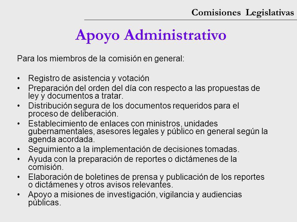 Comisiones Legislativas Apoyo Administrativo Para los miembros de la comisión en general: Registro de asistencia y votación Preparación del orden del