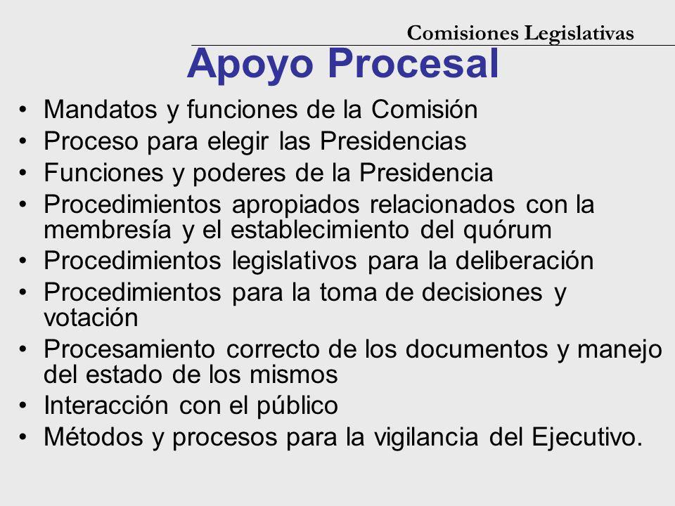 Apoyo Procesal Mandatos y funciones de la Comisión Proceso para elegir las Presidencias Funciones y poderes de la Presidencia Procedimientos apropiado