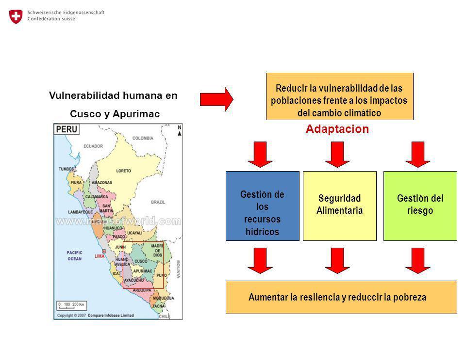 Reducir la vulnerabilidad de las poblaciones frente a los impactos del cambio climático Vulnerabilidad humana en Cusco y Apurimac Adaptacion Gestión d