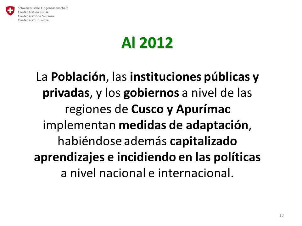 12 Al 2012 Al 2012 La Población, las instituciones públicas y privadas, y los gobiernos a nivel de las regiones de Cusco y Apurímac implementan medida