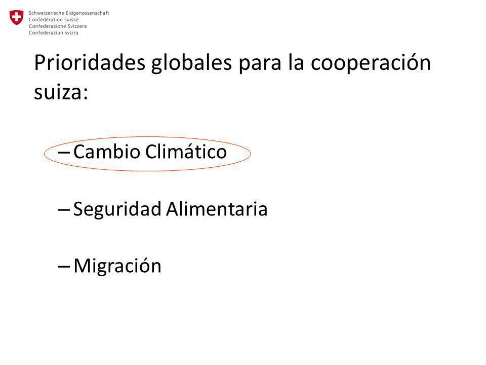 Prioridades globales para la cooperación suiza: – Cambio Climático – Seguridad Alimentaria – Migración