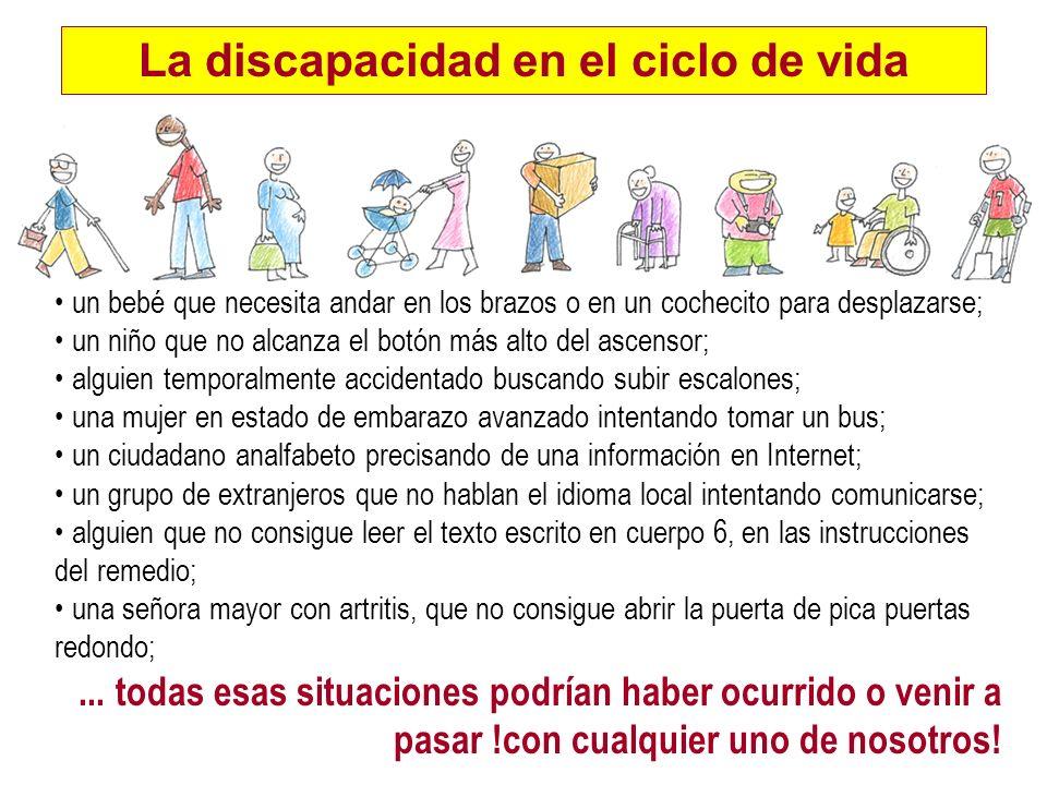 La discapacidad en el ciclo de vida un bebé que necesita andar en los brazos o en un cochecito para desplazarse; un niño que no alcanza el botón más a