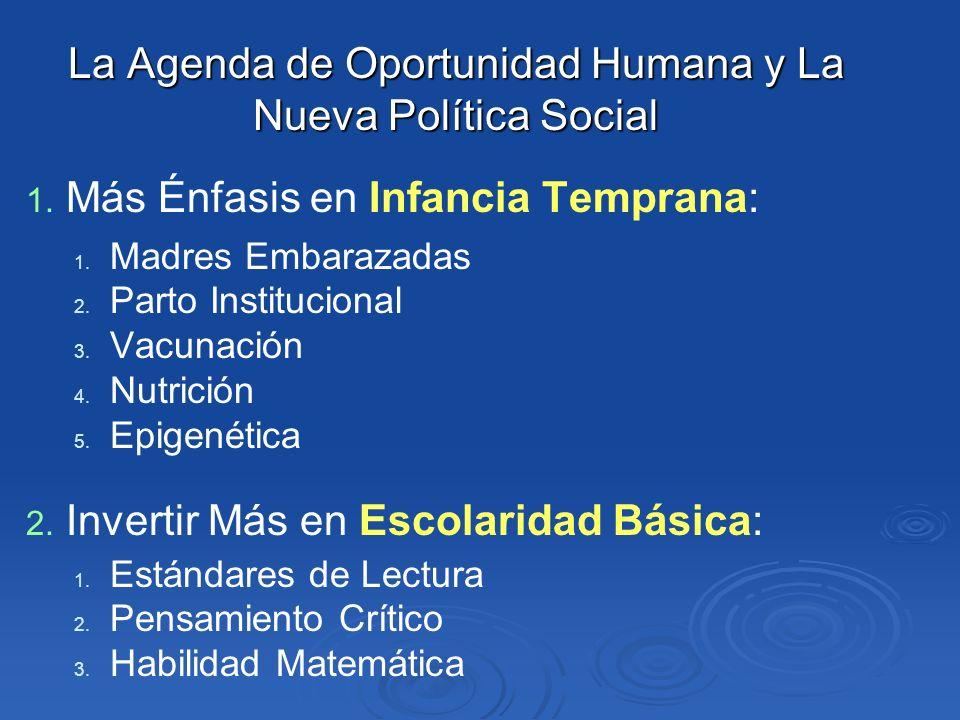 La Agenda de Oportunidad Humana y La Nueva Política Social 1. 1. Más Énfasis en Infancia Temprana: 1. 1. Madres Embarazadas 2. 2. Parto Institucional