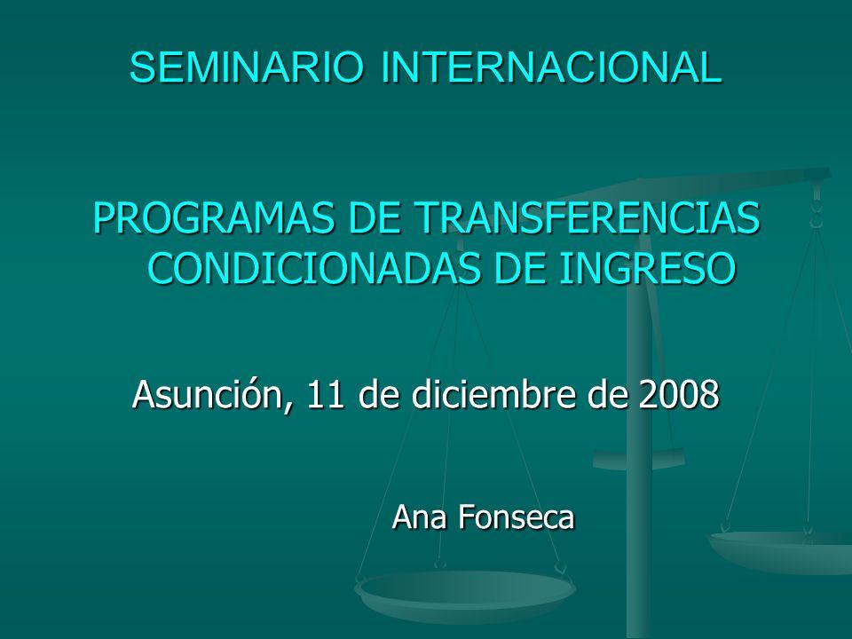 POBLACIÓN OBJETIVO FAMÍLIAS CON NIÑOS Y JOVÉNES: FAMÍLIAS CON NIÑOS Y JOVÉNES: Perú (0-14) Perú (0-14) El Salvador (0-14), El Salvador (0-14), Nicaragua (0-13 años), Nicaragua (0-13 años), Colombia (0-18 anos), Colombia (0-18 anos), Bolivia (6-11 anos), Bolivia (6-11 anos), Argentina (0-19 anos) Argentina (0-19 anos) FAMÍLIAS E INDIVIDUOS POBRES: FAMÍLIAS E INDIVIDUOS POBRES: Uruguay, República Dominicana, Honduras, Ecuador, Panamá, Brasil, México Jamaica, Chile JOVENES ( 12 Y 21 AÑOS) DE FAMÍLIAS POBRES: Costa Rica JOVENES ( 12 Y 21 AÑOS) DE FAMÍLIAS POBRES: Costa Rica
