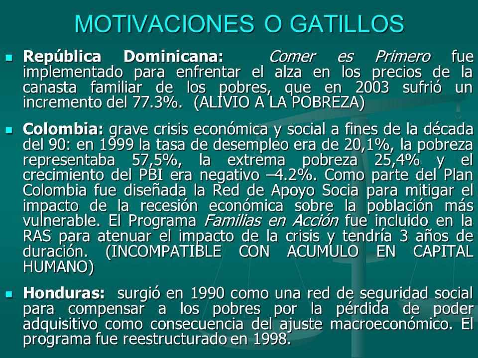 MOTIVACIONES O GATILLOS II En Brasil, el programa Auxilio Gas lanzado a fines de 2001, estaba dirigido a las familias con ingreso familiar per capita de hasta medio salario mínimo como compensación por el aumento del precio del gas licuado en virtud de la eliminación del subsidio.