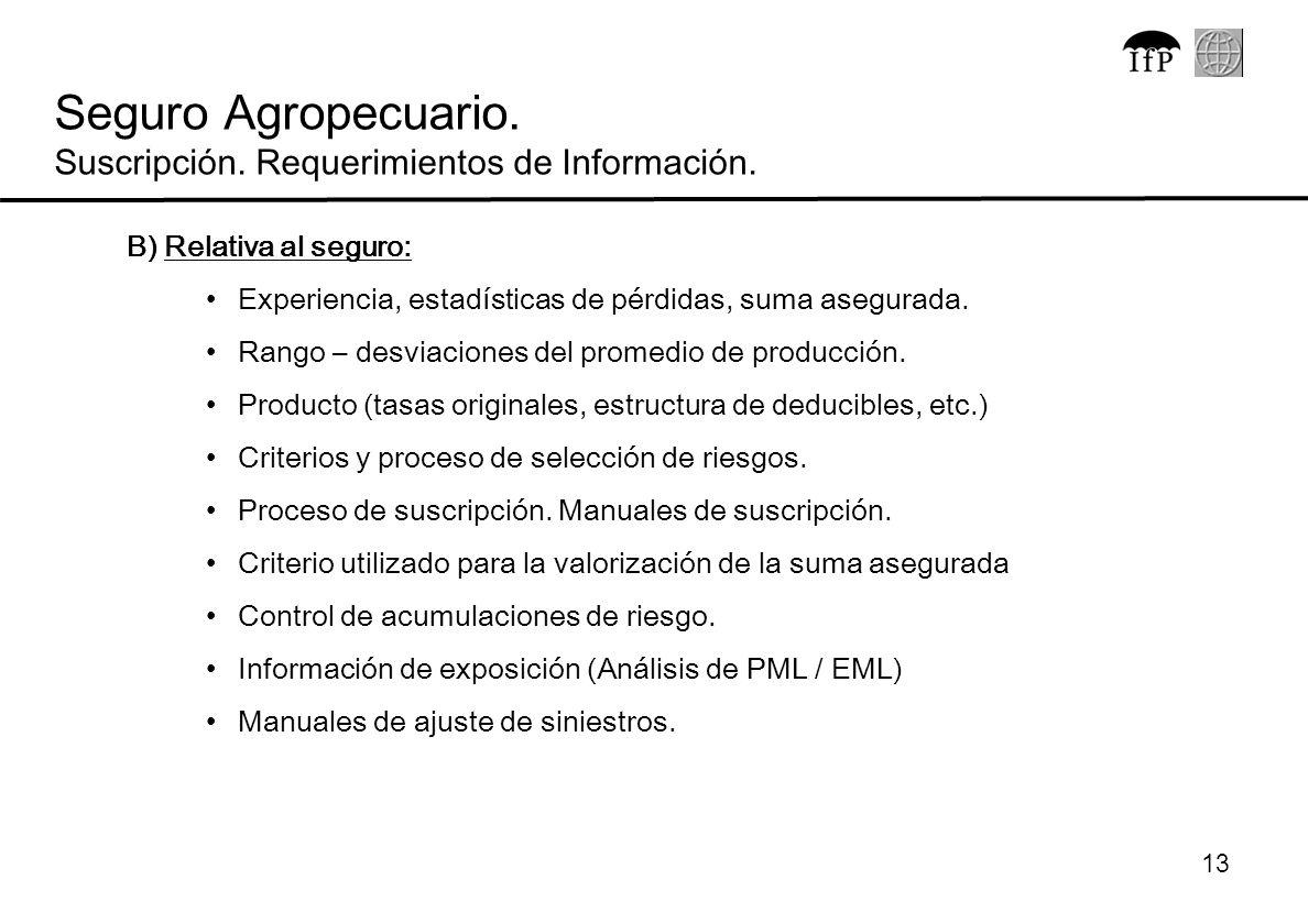 13 B) Relativa al seguro: Experiencia, estadísticas de pérdidas, suma asegurada. Rango – desviaciones del promedio de producción. Producto (tasas orig