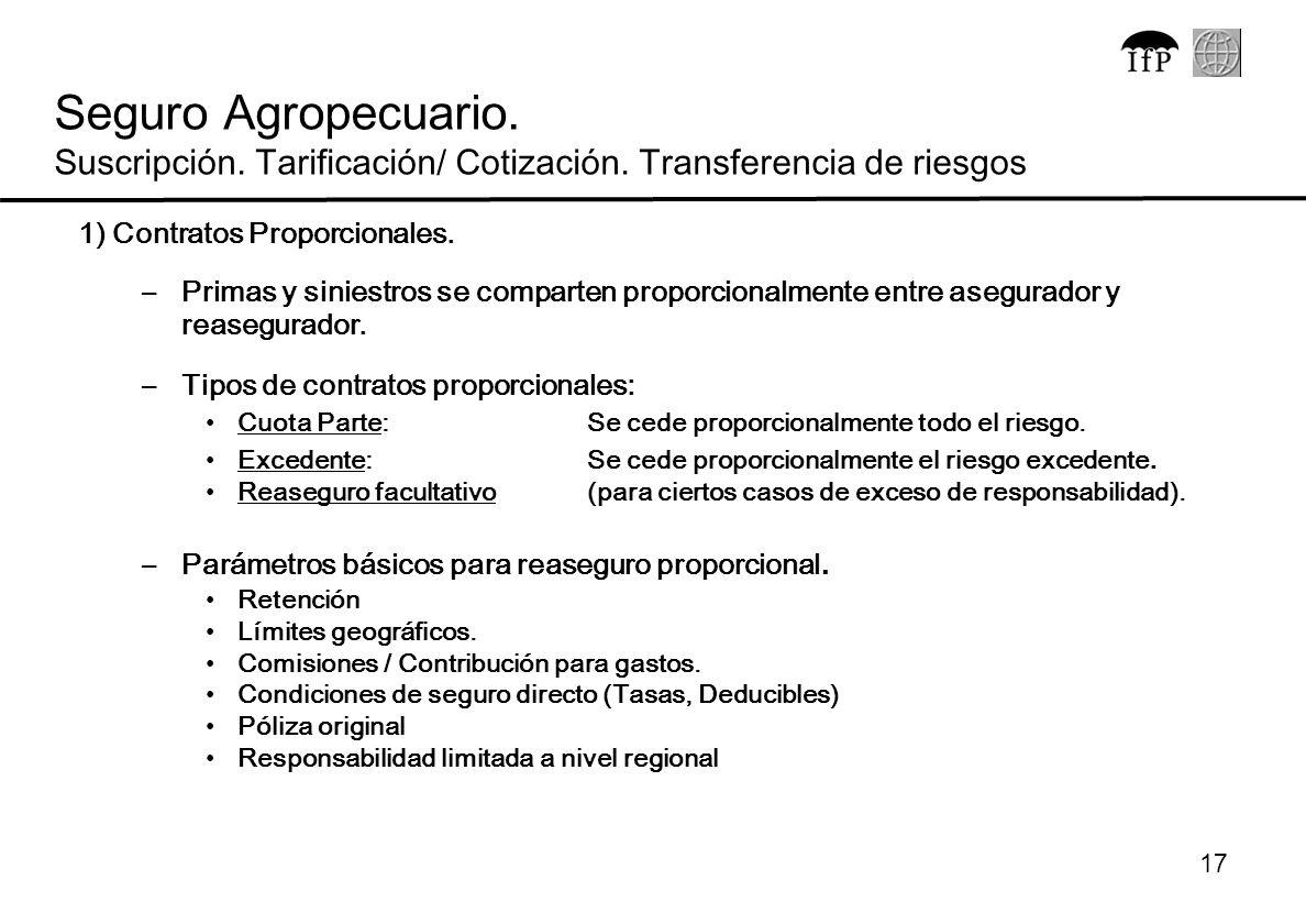 17 1) Contratos Proporcionales. –Primas y siniestros se comparten proporcionalmente entre asegurador y reasegurador. –Tipos de contratos proporcionale