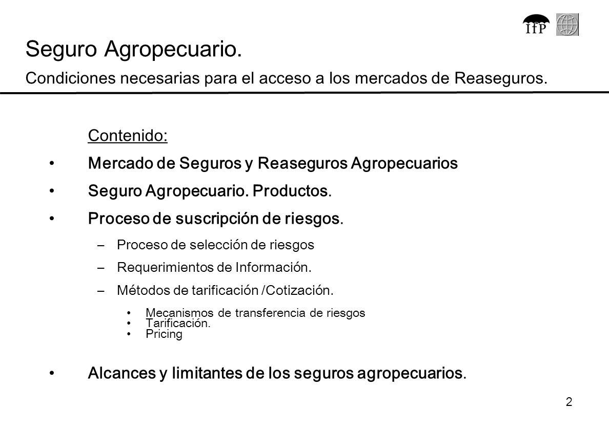 2 Contenido: Mercado de Seguros y Reaseguros Agropecuarios Seguro Agropecuario. Productos. Proceso de suscripción de riesgos. –Proceso de selección de