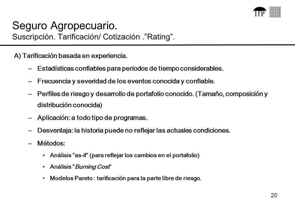 20 A) Tarificación basada en experiencia. –Estadísticas confiables para periodos de tiempo considerables. –Frecuencia y severidad de los eventos conoc