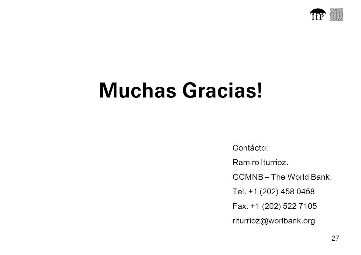 27 Muchas Gracias! Contácto: Ramiro Iturrioz. GCMNB – The World Bank. Tel. +1 (202) 458 0458 Fax. +1 (202) 522 7105 riturrioz@worlbank.org