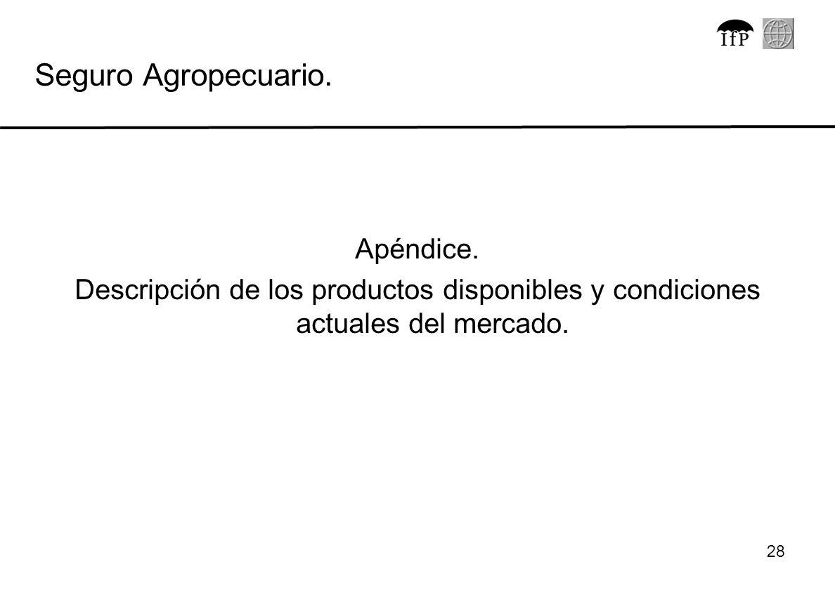28 Seguro Agropecuario. Apéndice. Descripción de los productos disponibles y condiciones actuales del mercado.