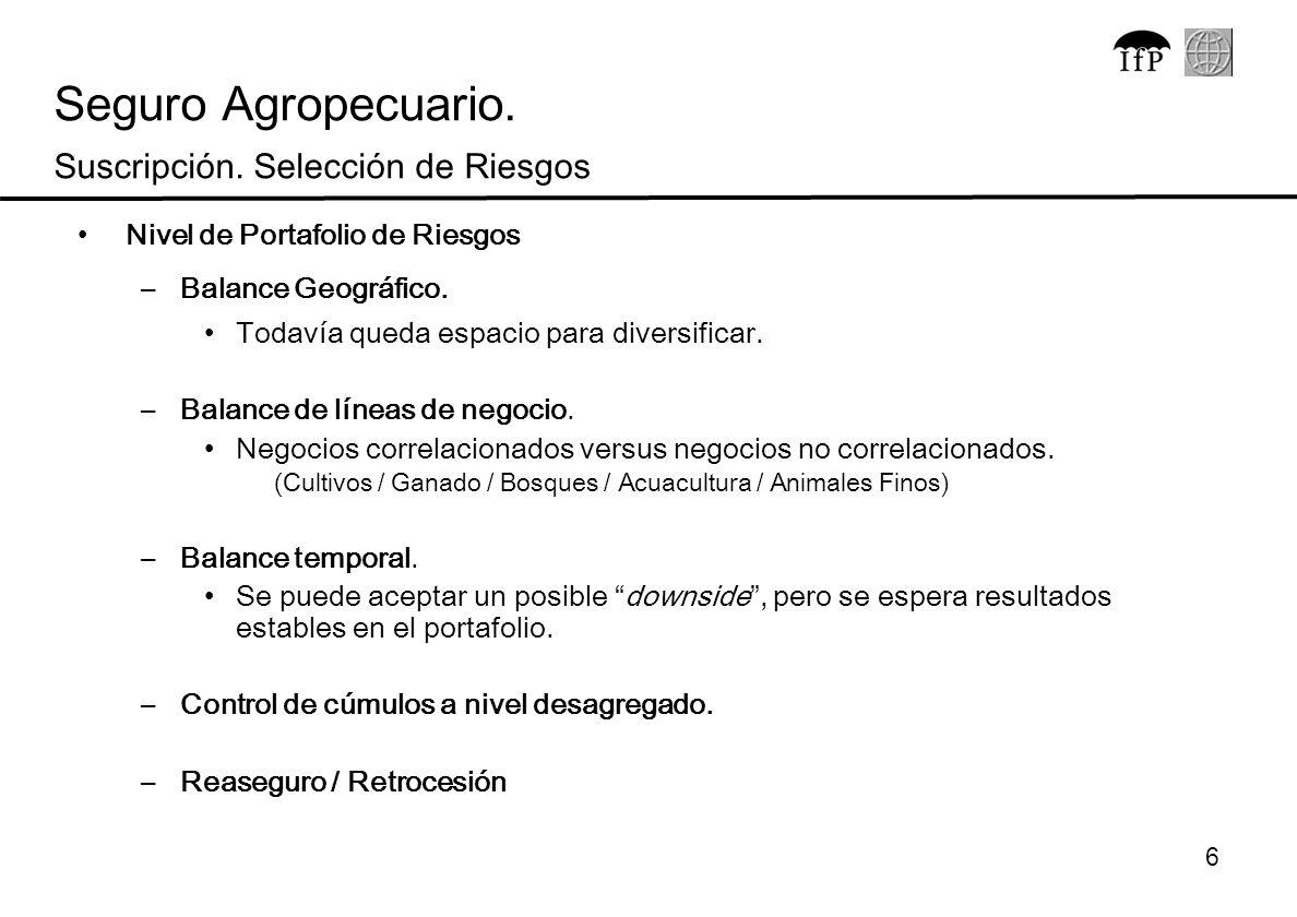 7 Percepción del riesgo desde la perspectiva del agricultor y del tomador de riesgos Percepción del Riesgo del Agricultor Percepción del Riesgo del Seguro/ Reaseguro.
