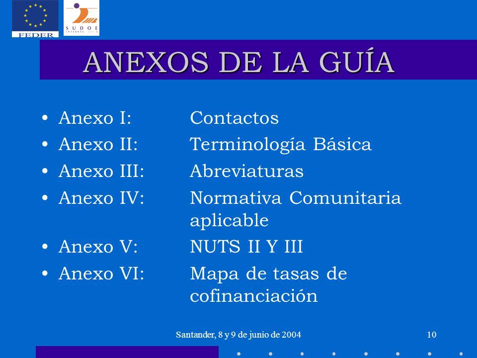 Santander, 8 y 9 de junio de 200410 ANEXOS DE LA GUÍA Anexo I: Contactos Anexo II: Terminología Básica Anexo III: Abreviaturas Anexo IV: Normativa Com
