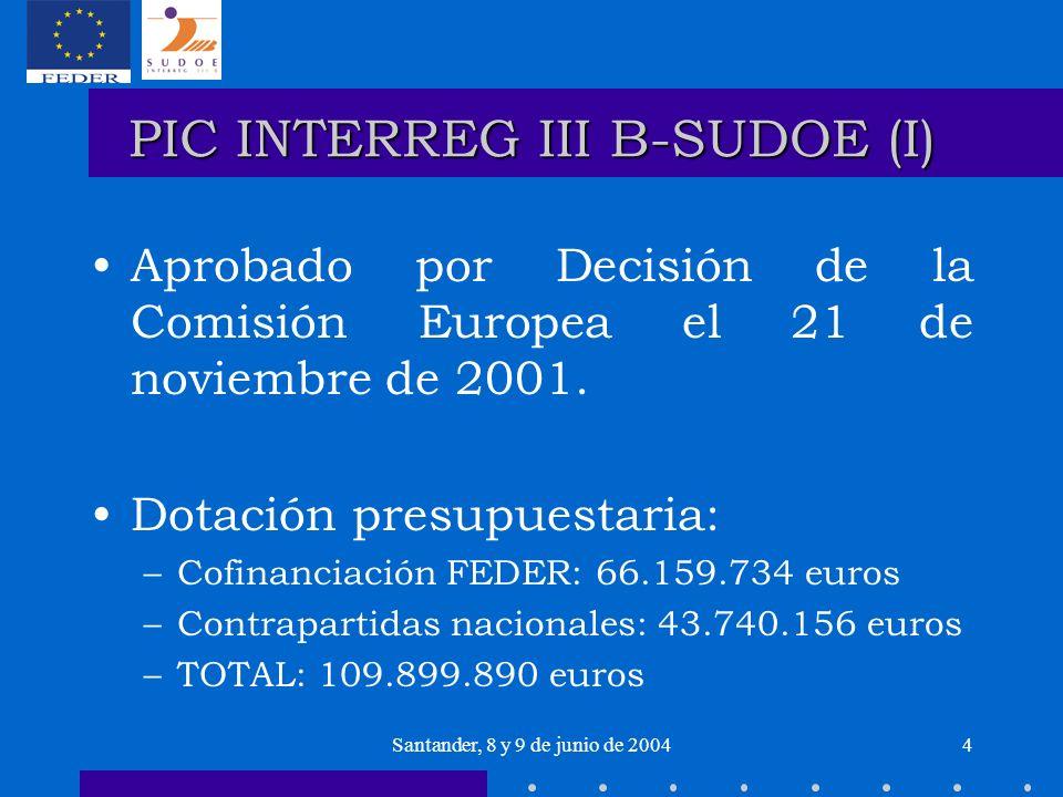 Santander, 8 y 9 de junio de 20045 PIC INTERREG III B-SUDOE (I) Prioridad 1: Estructuración policéntrica del Espacio y refuerzo de los polos de competencias: –Medida 1.1: reforzar y consolidar el sistema urbano del SUDOE, –Medida 1.2.: dinamizar zonas rurales y desarrollar complementariedades, –Medida 1.3: Valorizar el potencial de innovación del SUDOE.