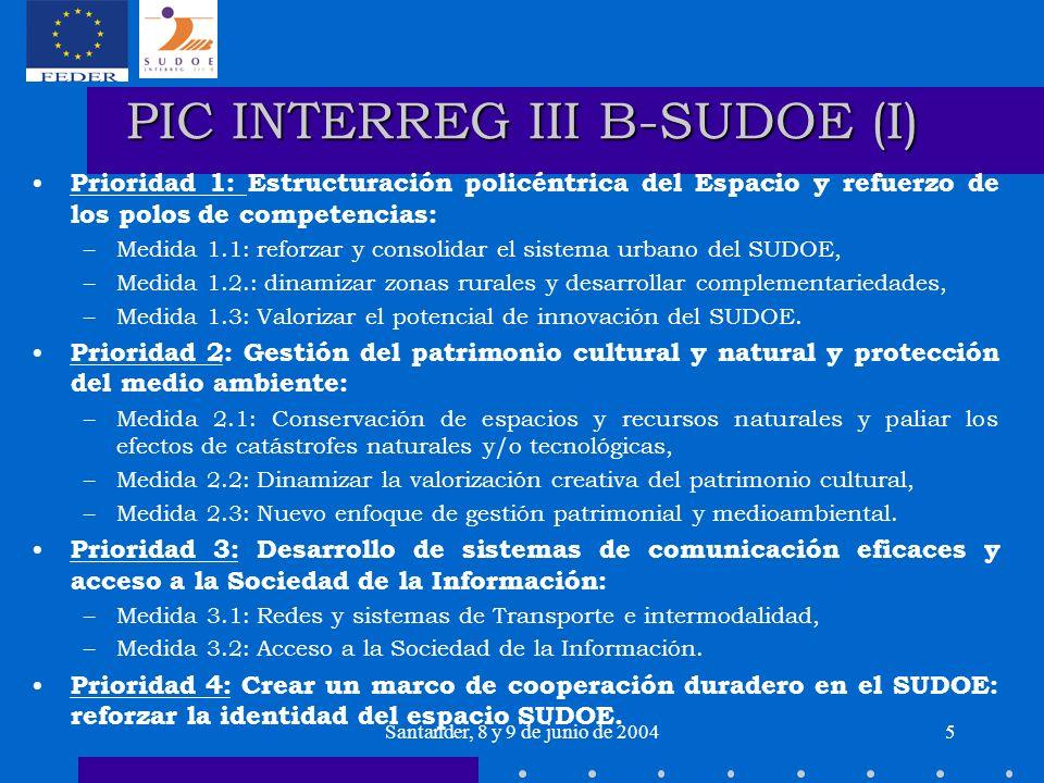Santander, 8 y 9 de junio de 20045 PIC INTERREG III B-SUDOE (I) Prioridad 1: Estructuración policéntrica del Espacio y refuerzo de los polos de compet