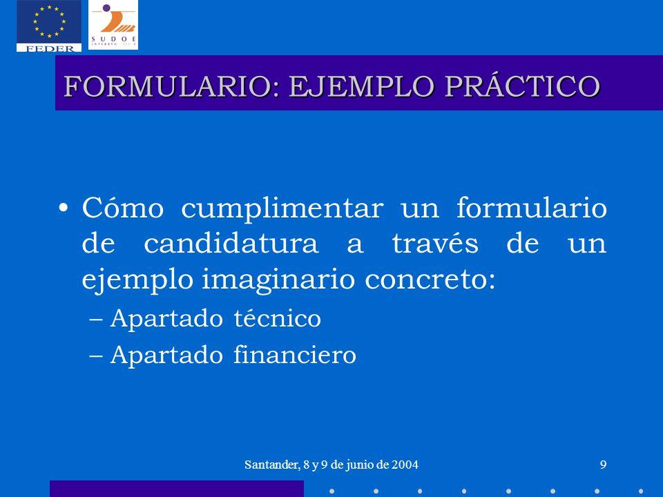 Santander, 8 y 9 de junio de 20049 FORMULARIO: EJEMPLO PRÁCTICO Cómo cumplimentar un formulario de candidatura a través de un ejemplo imaginario concr