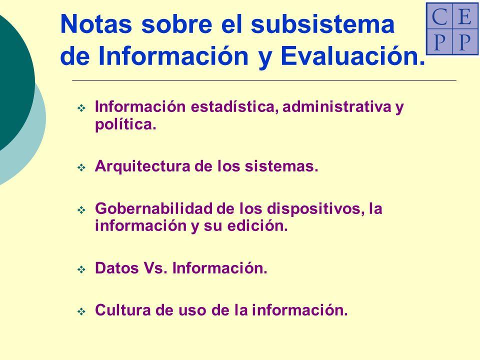 Notas sobre el subsistema de Información y Evaluación.
