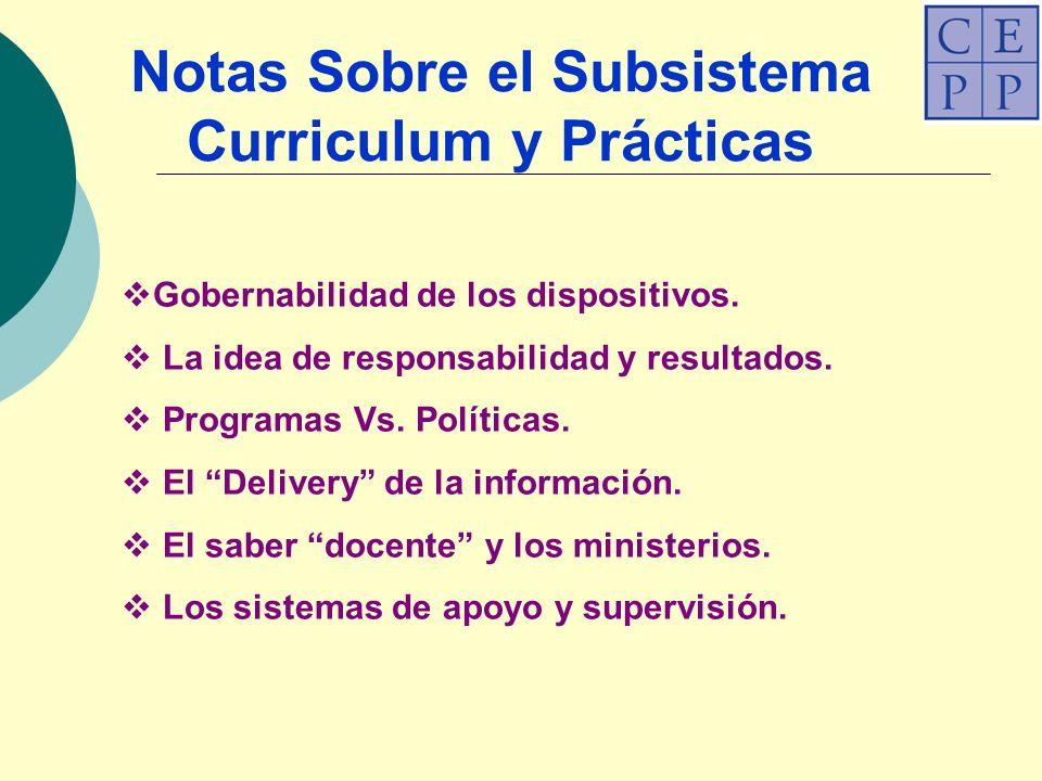 Notas Sobre el Subsistema Curriculum y Prácticas Gobernabilidad de los dispositivos.