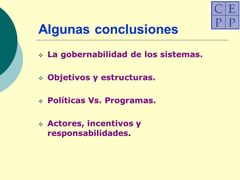 Algunas conclusiones La gobernabilidad de los sistemas.