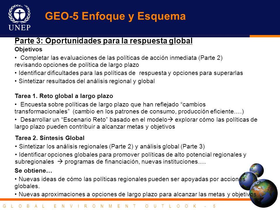 G L O B A L E N V I R O N M E N T O U T L O O K - 5 Parte 3: Oportunidades para la respuesta global Se obtiene… Nuevas ideas de cómo las políticas regionales pueden ser apoyadas por acciones globales.
