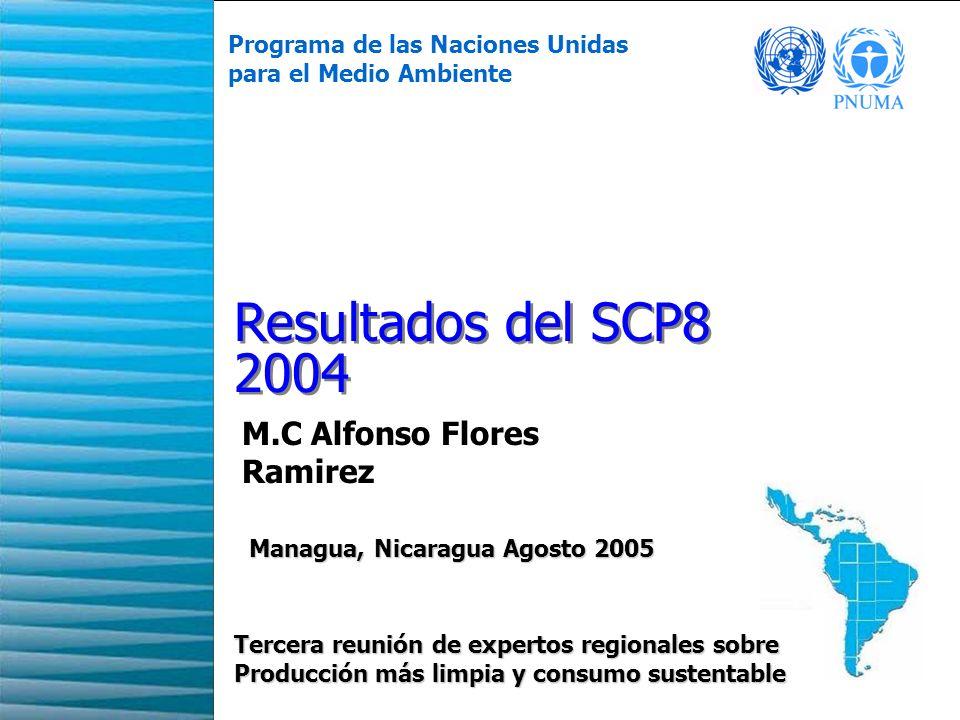1 Resultados del SCP8 2004 Programa de las Naciones Unidas para el Medio Ambiente Tercera reunión de expertos regionales sobre Producción más limpia y consumo sustentable Managua, Nicaragua Agosto 2005 Managua, Nicaragua Agosto 2005 M.C Alfonso Flores Ramirez