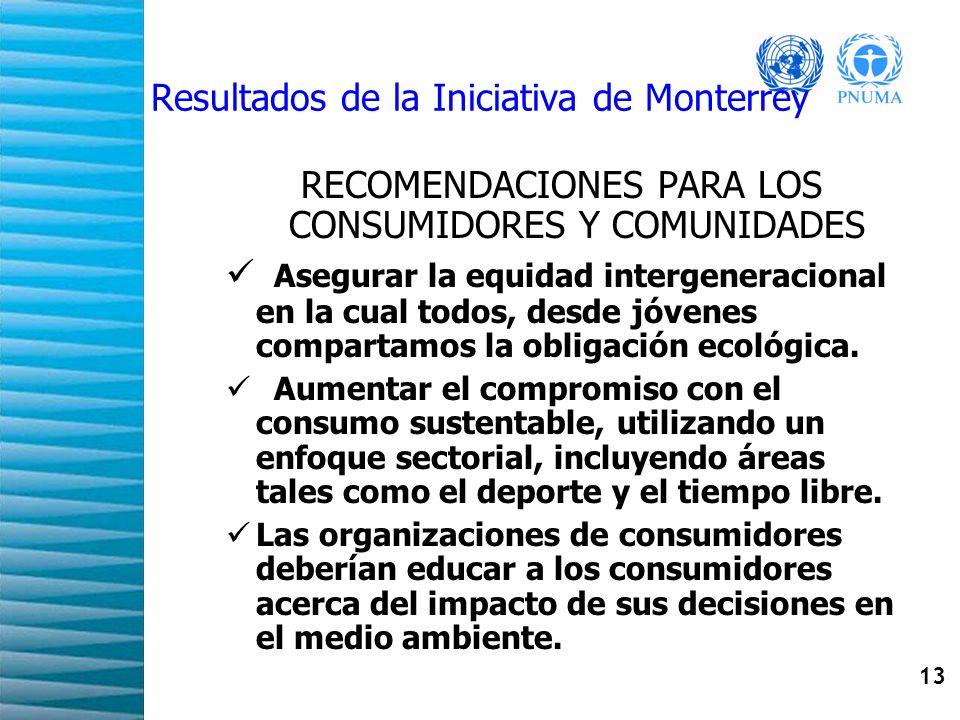 13 Resultados de la Iniciativa de Monterrey RECOMENDACIONES PARA LOS CONSUMIDORES Y COMUNIDADES Asegurar la equidad intergeneracional en la cual todos