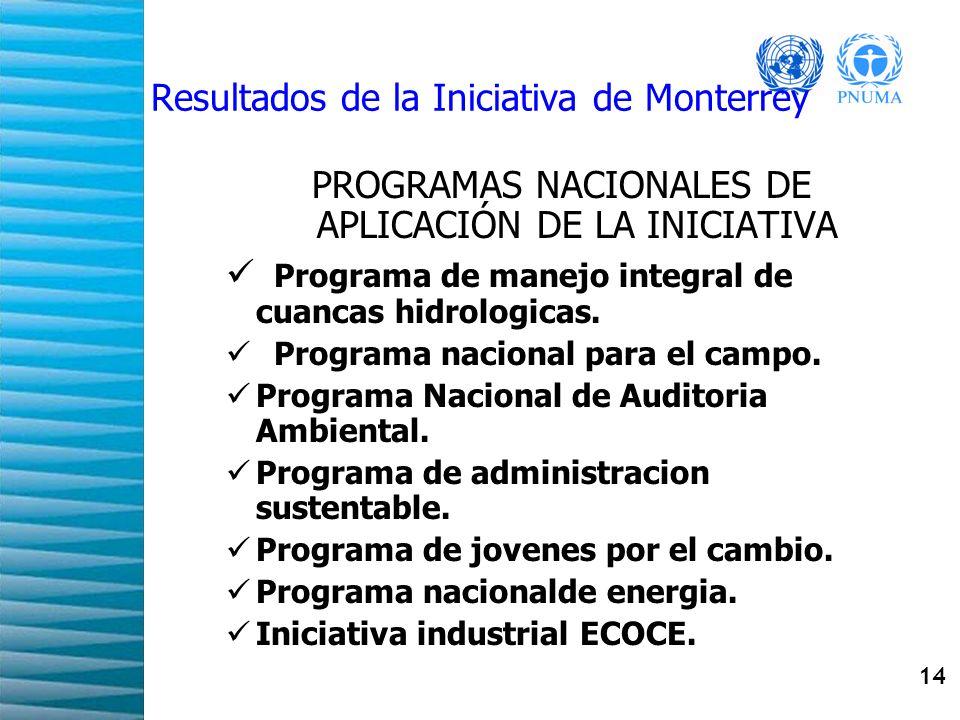 14 Resultados de la Iniciativa de Monterrey PROGRAMAS NACIONALES DE APLICACIÓN DE LA INICIATIVA Programa de manejo integral de cuancas hidrologicas. P