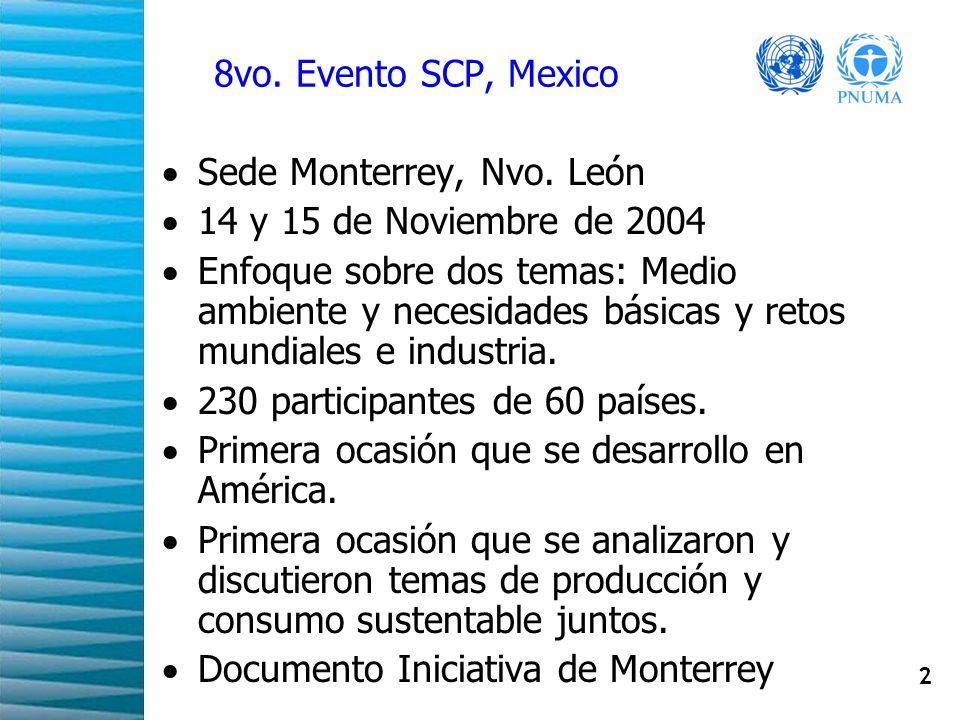 2 8vo. Evento SCP, Mexico Sede Monterrey, Nvo. León 14 y 15 de Noviembre de 2004 Enfoque sobre dos temas: Medio ambiente y necesidades básicas y retos