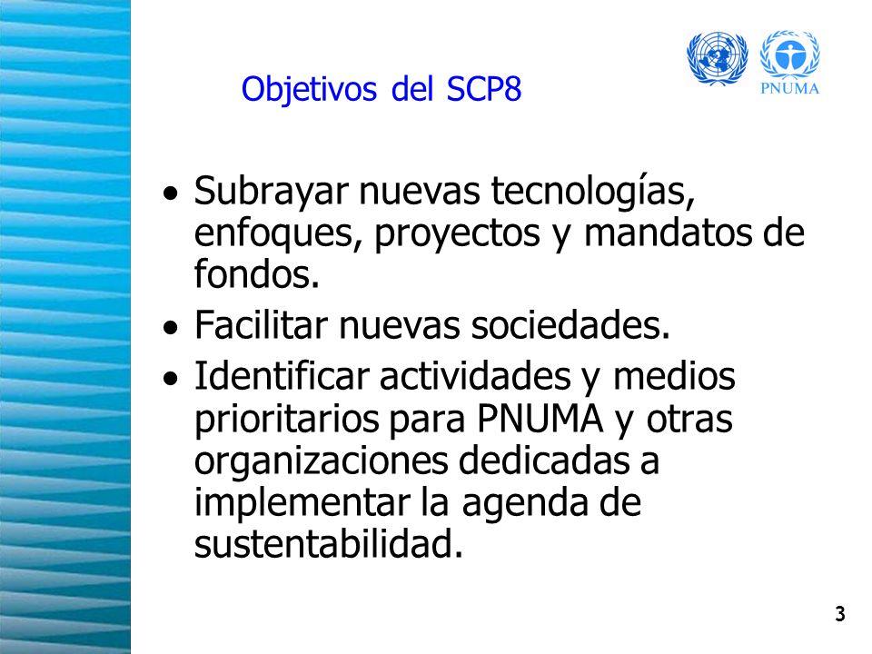 3 Objetivos del SCP8 Subrayar nuevas tecnologías, enfoques, proyectos y mandatos de fondos. Facilitar nuevas sociedades. Identificar actividades y med